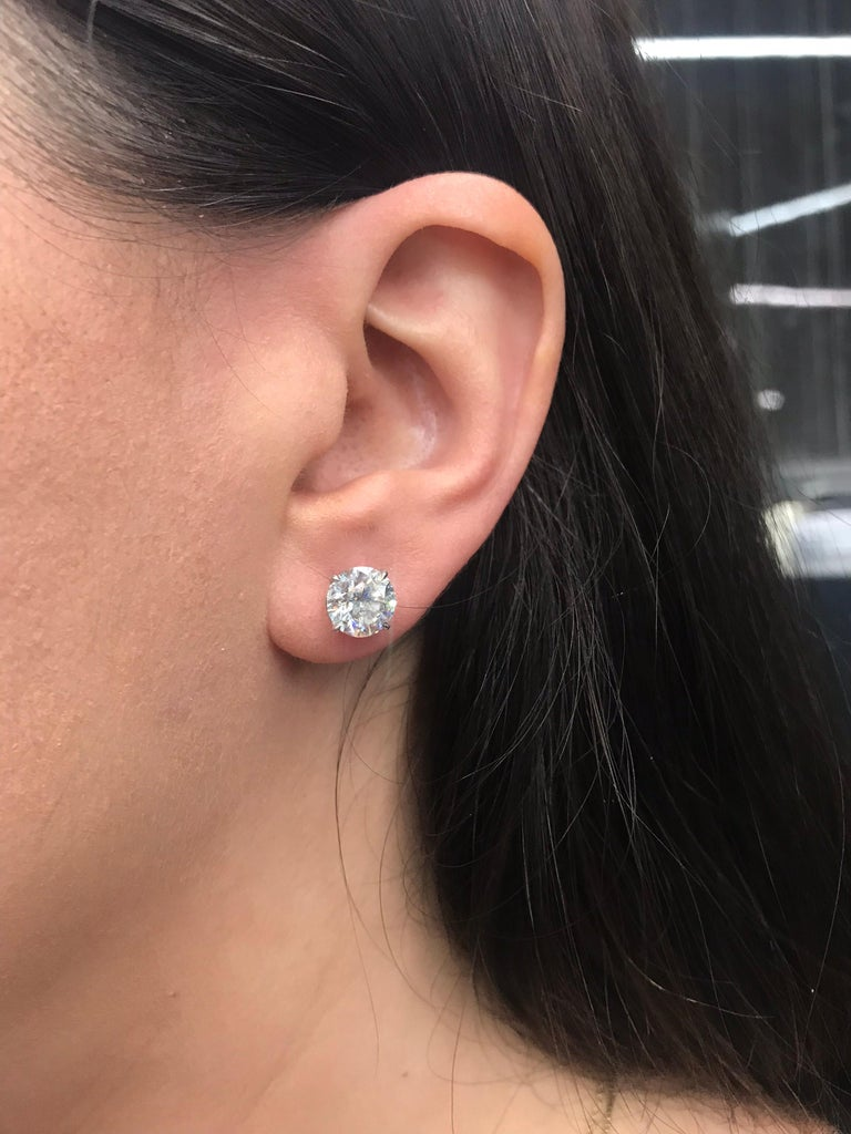 Contemporary Diamond Studs Earrings, GIA Certified I-J I1, 4.31 Carat For Sale