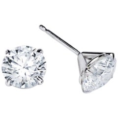 Three-Prong Martini Setting Round Diamond Stud Earrings 2.05 Carat
