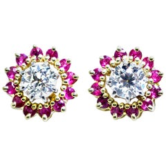 Diamond Studs Surrounded by Fine Red Ruby Vintage Earrings, circa 1950
