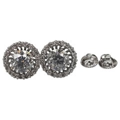 "Diamond Studs with Jackets Color ""F"", Clarity SI3 and Weight 3.03 Carat"