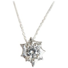 Diamond Sun Burst Pendant in 18 Karat White Gold