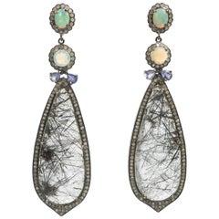 Diamond Surrounded Opal Rutilated Needle Quartz Long Earrings
