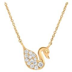 Diamond Swan Pendant Necklace in 18k Yellow Gold