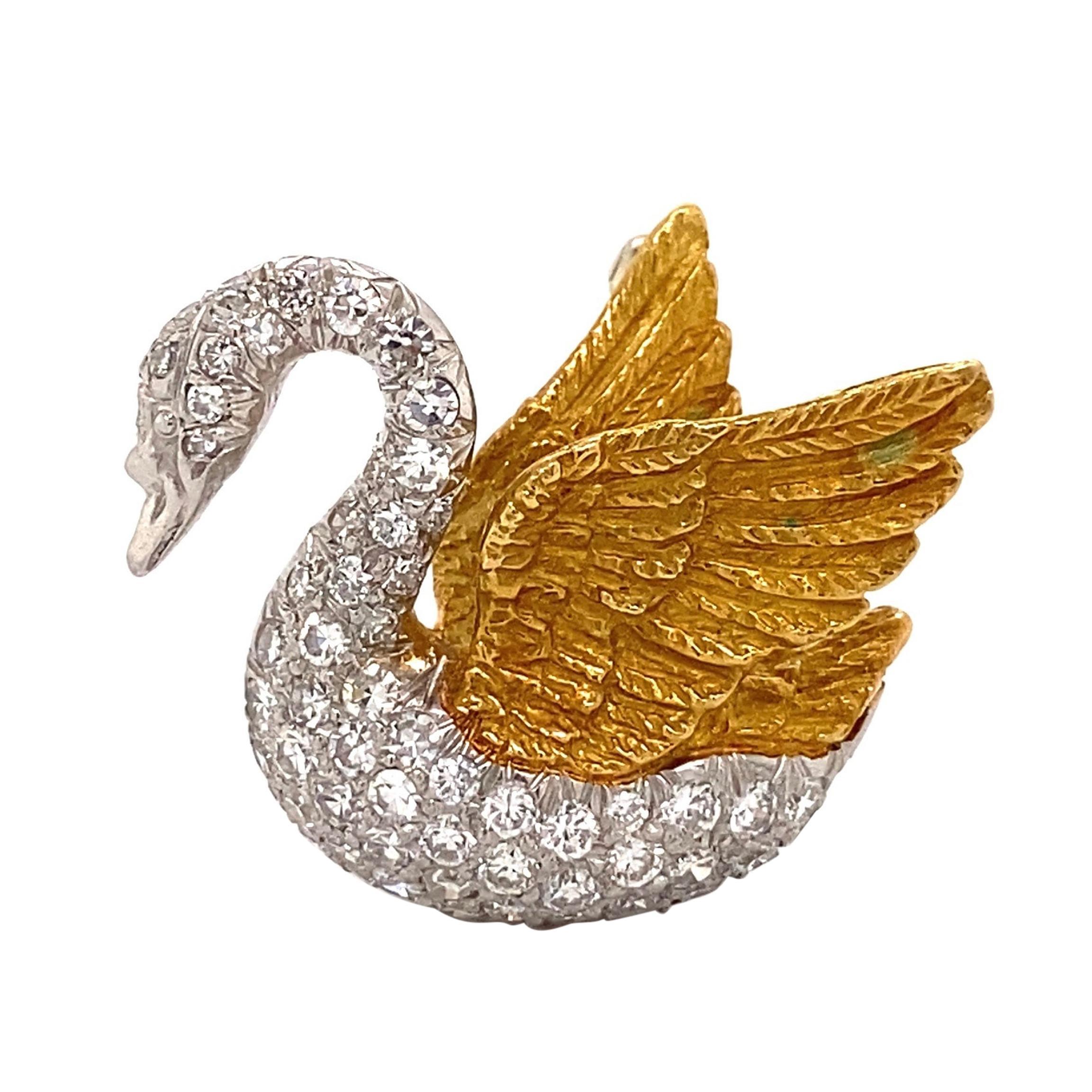 Diamond Swan Platinum and Gold Brooch Pin Fine Estate Jewelry