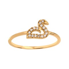 Diamond Swan Ring in 18K Yellow Gold