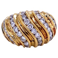 Diamond Swirl Dome Ring 1.55 Carat 18 Karat Yellow Gold