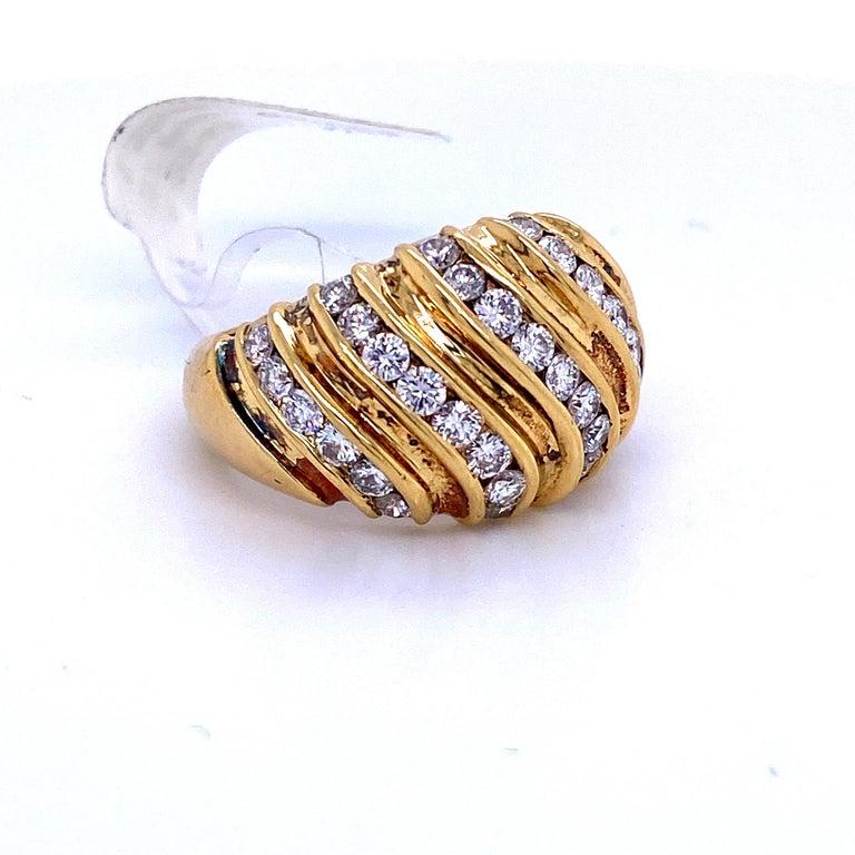Contemporary Diamond Swirl Dome Ring 1.55 Carat 18 Karat Yellow Gold For Sale