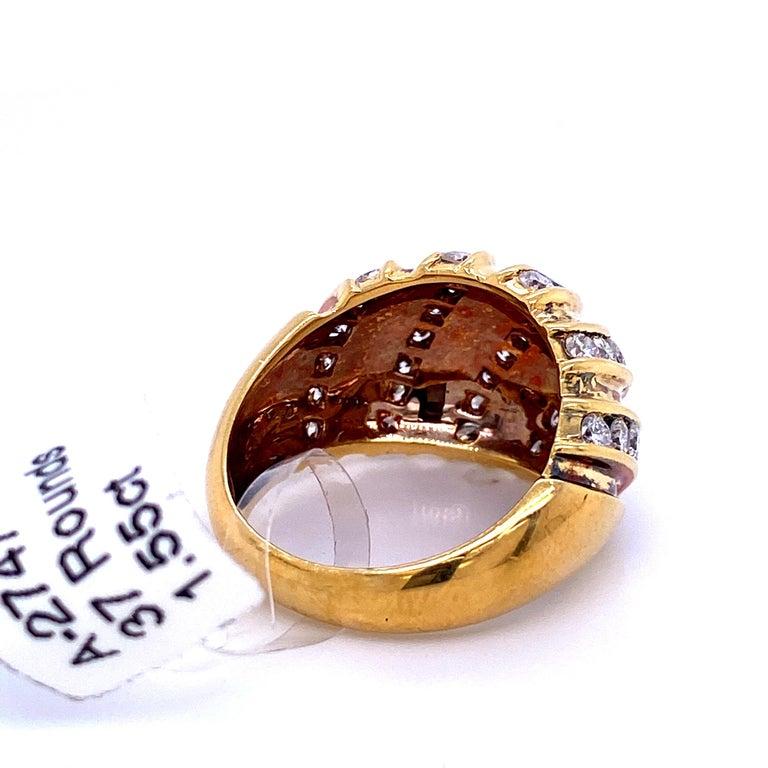 Women's Diamond Swirl Dome Ring 1.55 Carat 18 Karat Yellow Gold For Sale