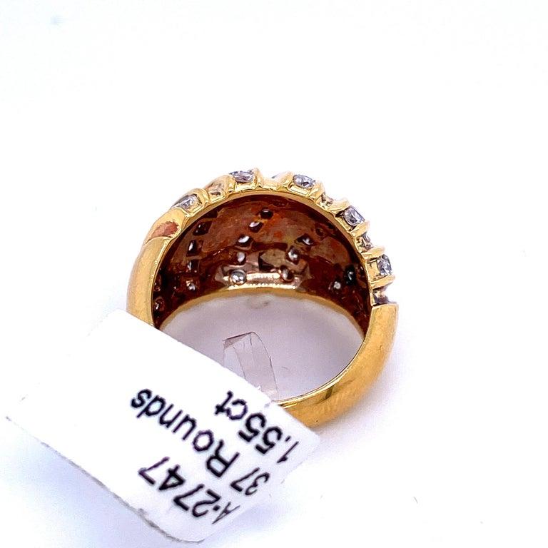 Diamond Swirl Dome Ring 1.55 Carat 18 Karat Yellow Gold For Sale 1