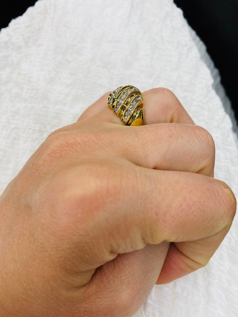 Diamond Swirl Dome Ring 1.55 Carat 18 Karat Yellow Gold For Sale 3