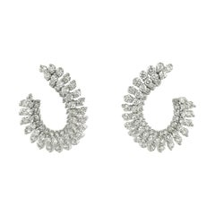 Diamond Swirl Earrings 3.87 Carat 18 Karat White Gold