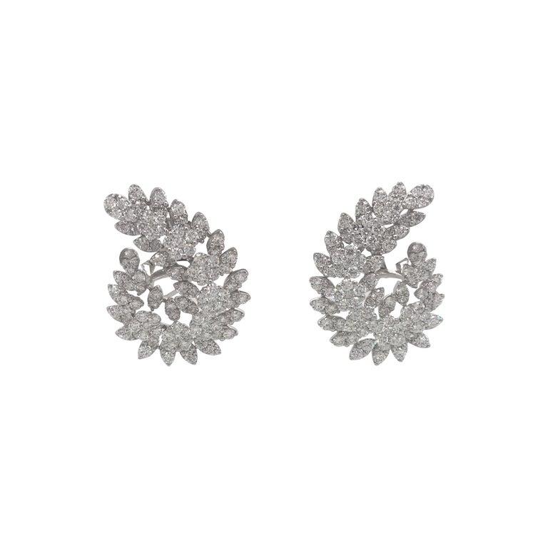 Diamond Swirl Earrings 9.35 Carat 18 Karat White Gold For Sale
