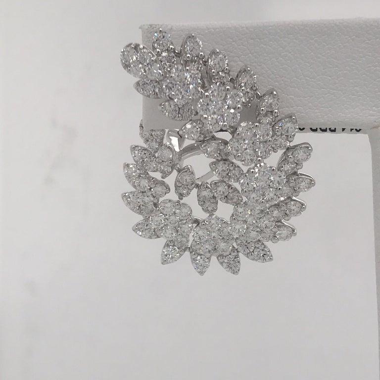 Round Cut Diamond Swirl Earrings 9.35 Carat 18 Karat White Gold For Sale