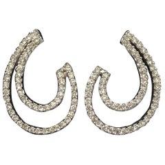 Diamond Swirl Earrings in 18 Karat White Gold