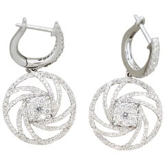 Diamond Swirl Gold Drop Earrings