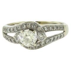 Diamond Swirl Halo White Gold Engagement Ring