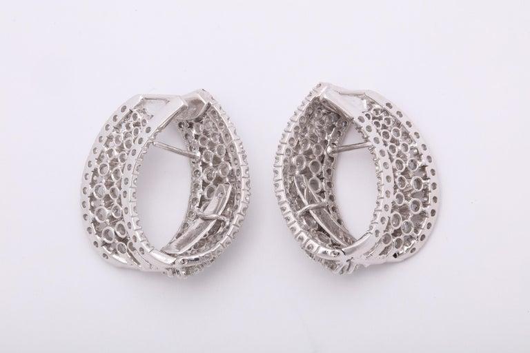 Diamond Swirl Hoop Earrings For Sale 2