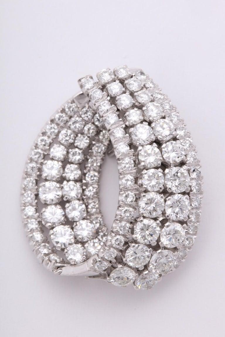 Diamond Swirl Hoop Earrings For Sale 3
