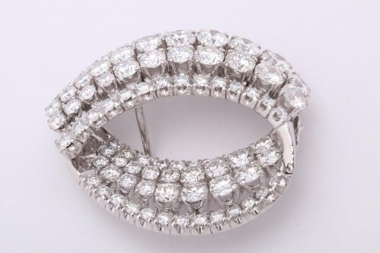 Diamond Swirl Hoop Earrings For Sale 4