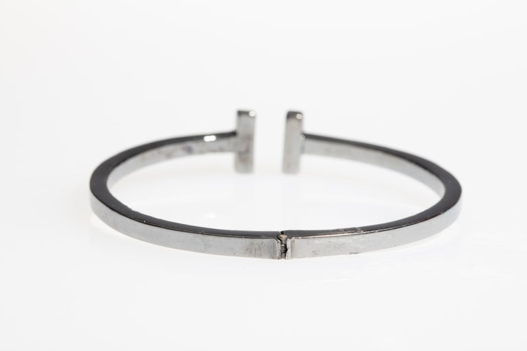 Diamond T Bracelet in Oxidized Sterling Silver In Excellent Condition For Sale In Nantucket, MA