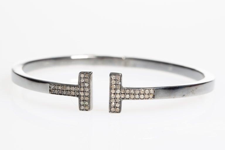 Women's or Men's Diamond T Bracelet in Oxidized Sterling Silver For Sale