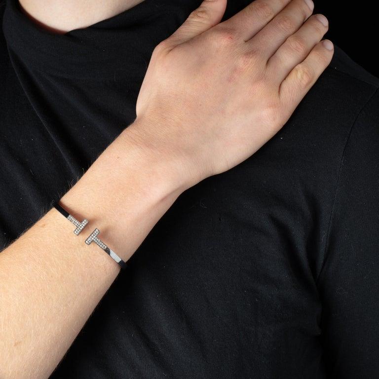 Diamond T Bracelet in Oxidized Sterling Silver For Sale 1