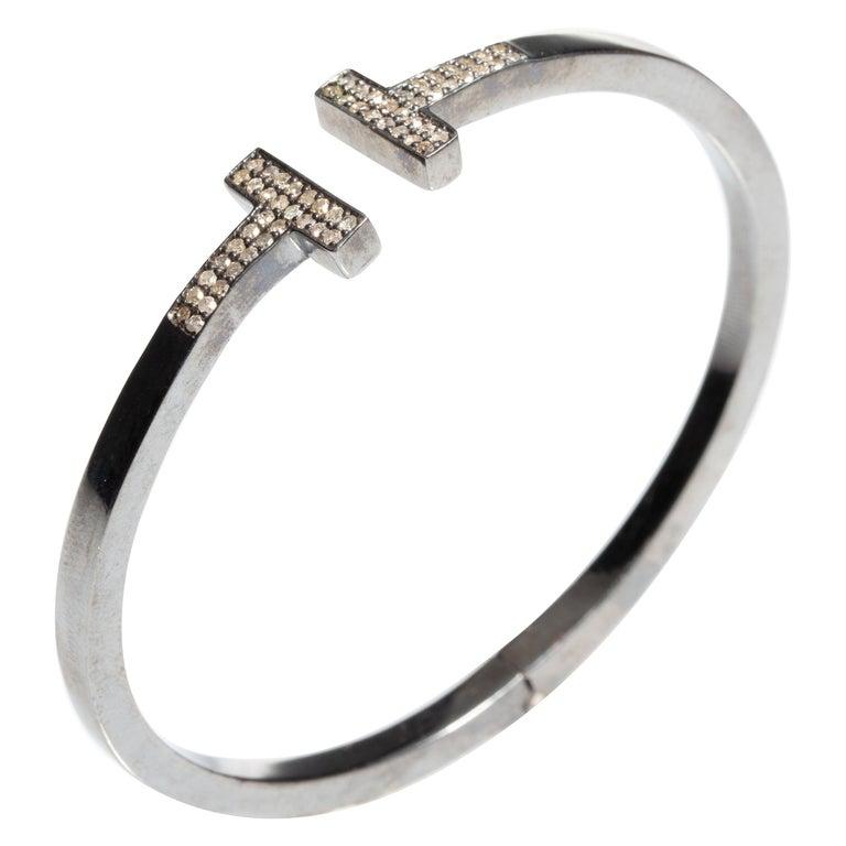 Diamond T Bracelet in Oxidized Sterling Silver For Sale