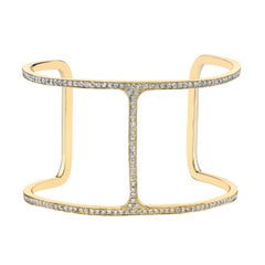 Diamond T Cuff, Large, 18 Karat Yellow Gold