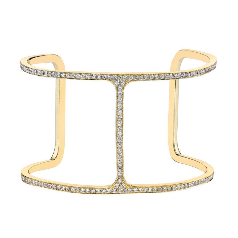 Diamond and 18-karat yellow gold T cuff