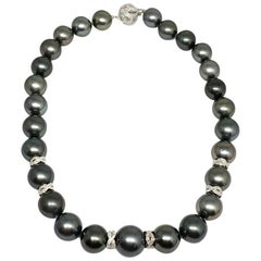 Diamond Tahitian Pearl 14k Gold Necklace Certified
