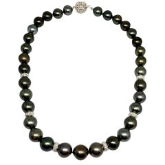 Diamond Tahitian Pearl 18k Gold Necklace Certified