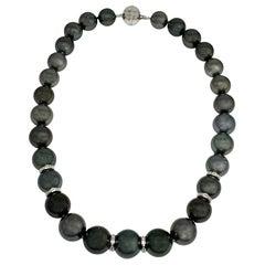 Diamond Tahitian Pearl Necklace 14 Karat Gold Certified