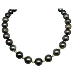 Diamond Tahitian Pearl Necklace 14k Gold Certified