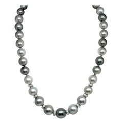 Diamond Tahitian Pearl Necklace 18k Gold Certified