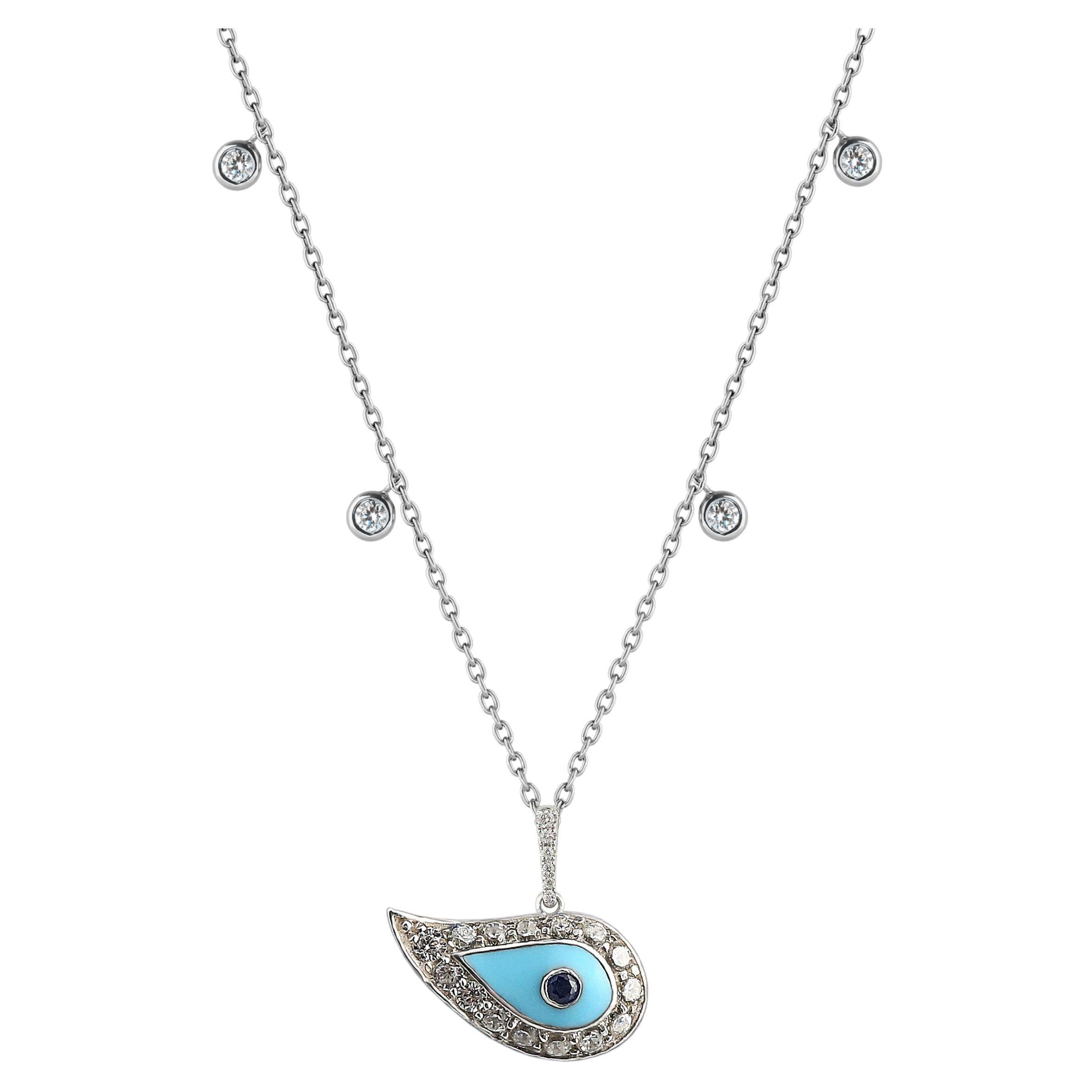 Diamond Talisman Necklace 18 Karat Gold Evil Eye Turquoise Enamel and Sapphire