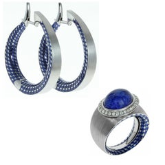 Diamond Tanzanite 18 Karat White Gold Kaleidoscope Enamel Ring Earrings Suite