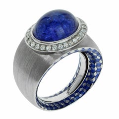 Diamond Tanzanite 18 Karat White Gold Kaleidoscope Enamel Ring