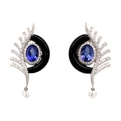 Diamond, Tanzanite and Onyx Earrings in 18 Karat White Gold