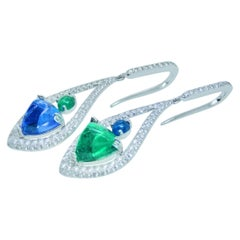 Diamond, Tanzanite and Tsavorite Earrings in 18 Karat White Gold