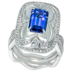 Diamond and Tanzanite Cocktail Ring