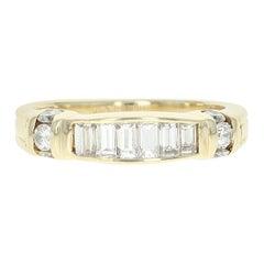 Diamond Tapered Band, 14 Karat Yellow Gold Ring Baguette Cut 1.00 Carat