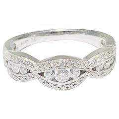 Diamond Tapering Band with .50 Carat & 14 Karat Gold Anniversary or Wedding Ring