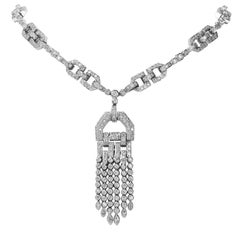 Diamond Tassel 18 Karat White Gold Deco Link Necklace