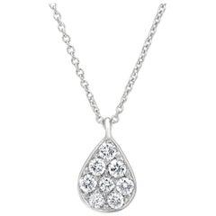 Diamond Tear Drop Pendant Necklace 18K White Gold