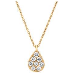 Diamond Tear Drop Pendant Necklace in 18K Yellow Gold