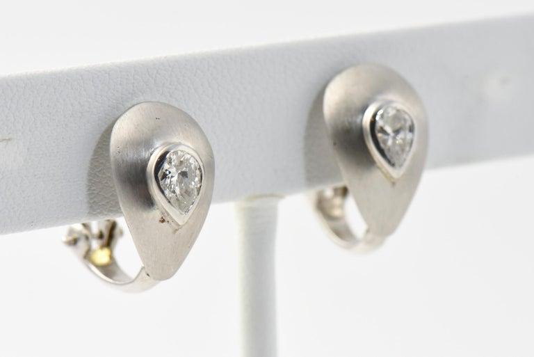 Pear Cut Diamond Teardrop Brushed White Gold Earrings For Sale