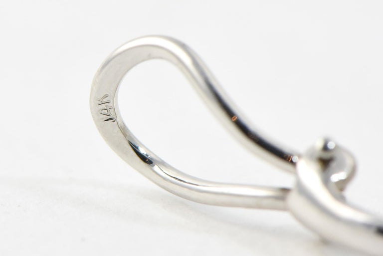 Diamond Teardrop Brushed White Gold Earrings For Sale 1