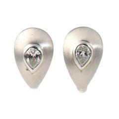 Diamond Teardrop Brushed White Gold Earrings