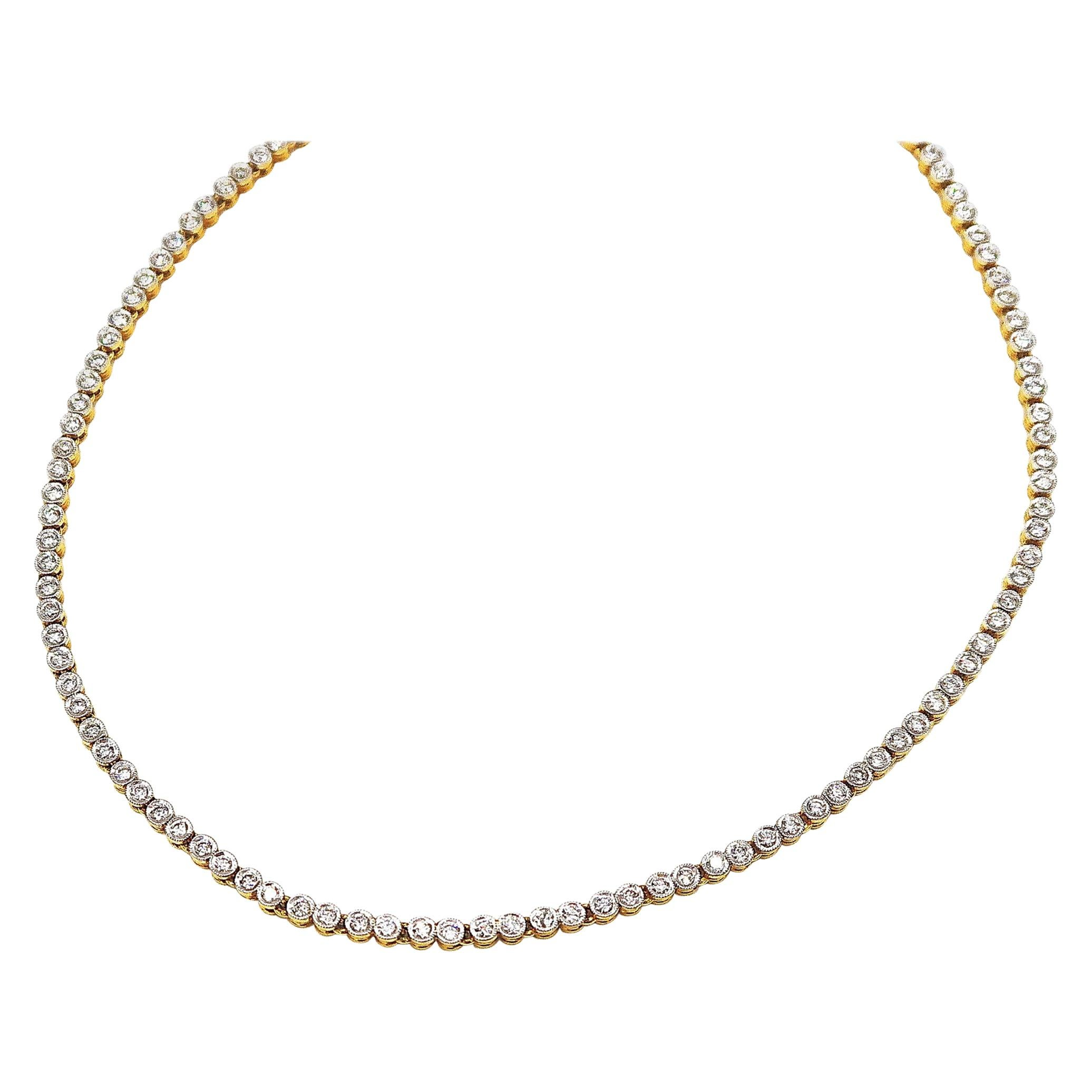 Diamond Tennis 18 Karat Yellow Gold Necklace