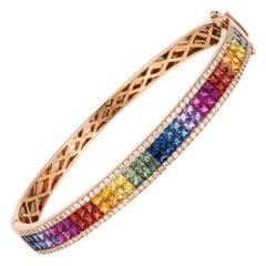 Diamond Tennis Bangle Bracelet 18 Karat Gold Diamond 0.70 Carat/116 Pieces Multi